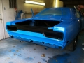 Tail panel in blue paint and black cut out sanding 092014